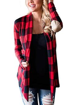 Asvivid Womens Casual Plaid Print Long Sleeve Elbow Patch Dr