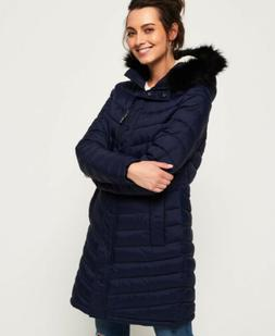Womens Superdry Chevron Faux Fur Super Fuji Jacket Navy