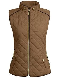 NE PEOPLE Womens Classic Quilted Front Zip Up Padded Vest S-