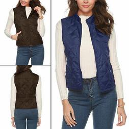 Womens Dimond Quilted Padded Vest Sleeveless Vest Coat Stand