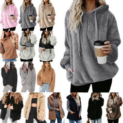 Women's Faux Fur Teddy Bear Fleece Coat Ladies Jacket Sweate