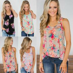 Womens Floral Vest Tops Ladies Summer Loose Sleeveless T-shi