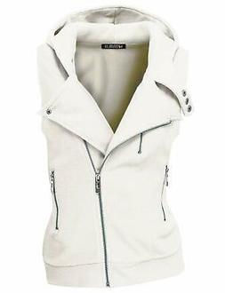 Doublju Womens Hooded Zip-Up Vest with Zipper Detail and Plu
