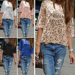 Womens Ladies Shiny Sequin Top 3/4 Sleeve Blouse Bling Vest