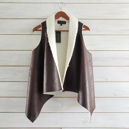 Active USA womens large faux leather sherpa brown vest new N