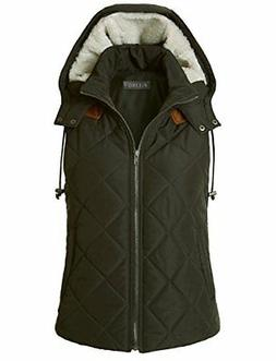 LE3NO Womens Lightweight Fully Lined Quilted Puffer Vest Wit