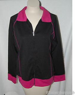 Womens Lightweight Zippered Jacket BLACK PINK Topstitched Si