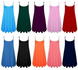 WOMENS LONG CAMI SWING DRESS CAMISOLE PLUS SIZE VEST TOP AZT