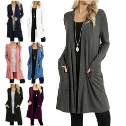 Womens Long Sleeve Slouchy Cardigan Open Front Draped with P