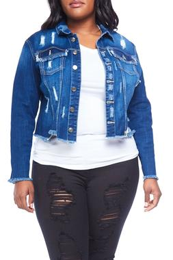 Womens Plus Size Distressed Button Down Crop Denim Jacket WV