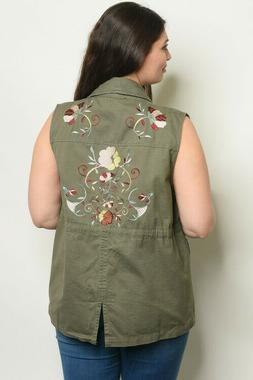 Womens Plus Size Olive Vest 3X Utility Floral Embroidered