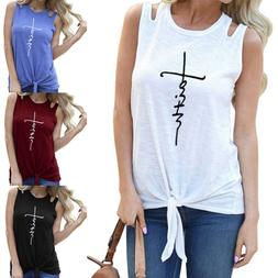 Womens Plus Size Sleeveless Vest Tee Shirt Summer Casual Hol
