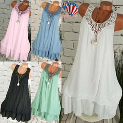 Womens Summer Sleeveless Loose Vest Tops Blouse Casual Tee P