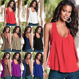 Womens Vest Sleeveless Tank Tops Summer Casual Blouse Loose