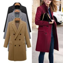 Womens Winter Warm Wool Lapel Trench Coat Parka Jacket Butto