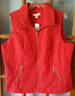 Womens XL Christopher & Banks Solid Red Quilted Vest Jacket