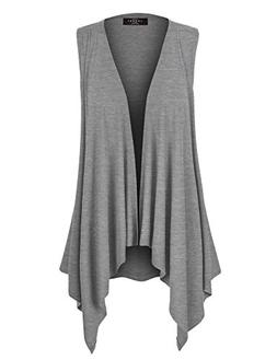 WSK1071 Womens Lightweight Sleeveless Draped Open Cardigan X
