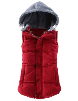 Yeokou Women's Slim Sleeveless Quilted Removable Hooded Wint