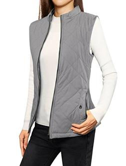 Allegra K Women's Zip Up Front Stand Collar Quilted Padded V