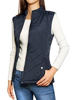 Allegra K Woman Zip Up Slant Pockets Lightweight Quilted Pad
