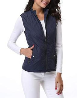 MISS MOLY Women's Zip Up Stand Collar Lightweight Quilted Gi